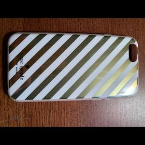 Kate Spade iPhone 7 gold & white striped case